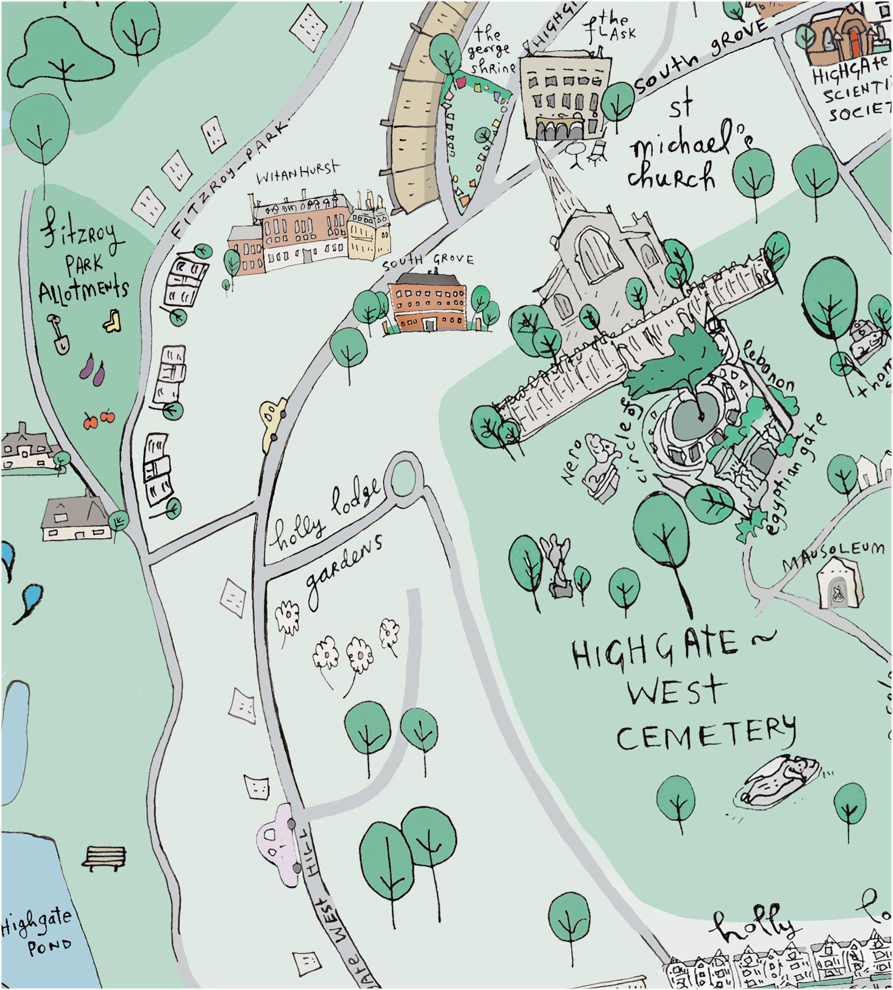 Highgate Cemetery Map Highgate and Hampstead Map – Raw Art Highgate Cemetery Map