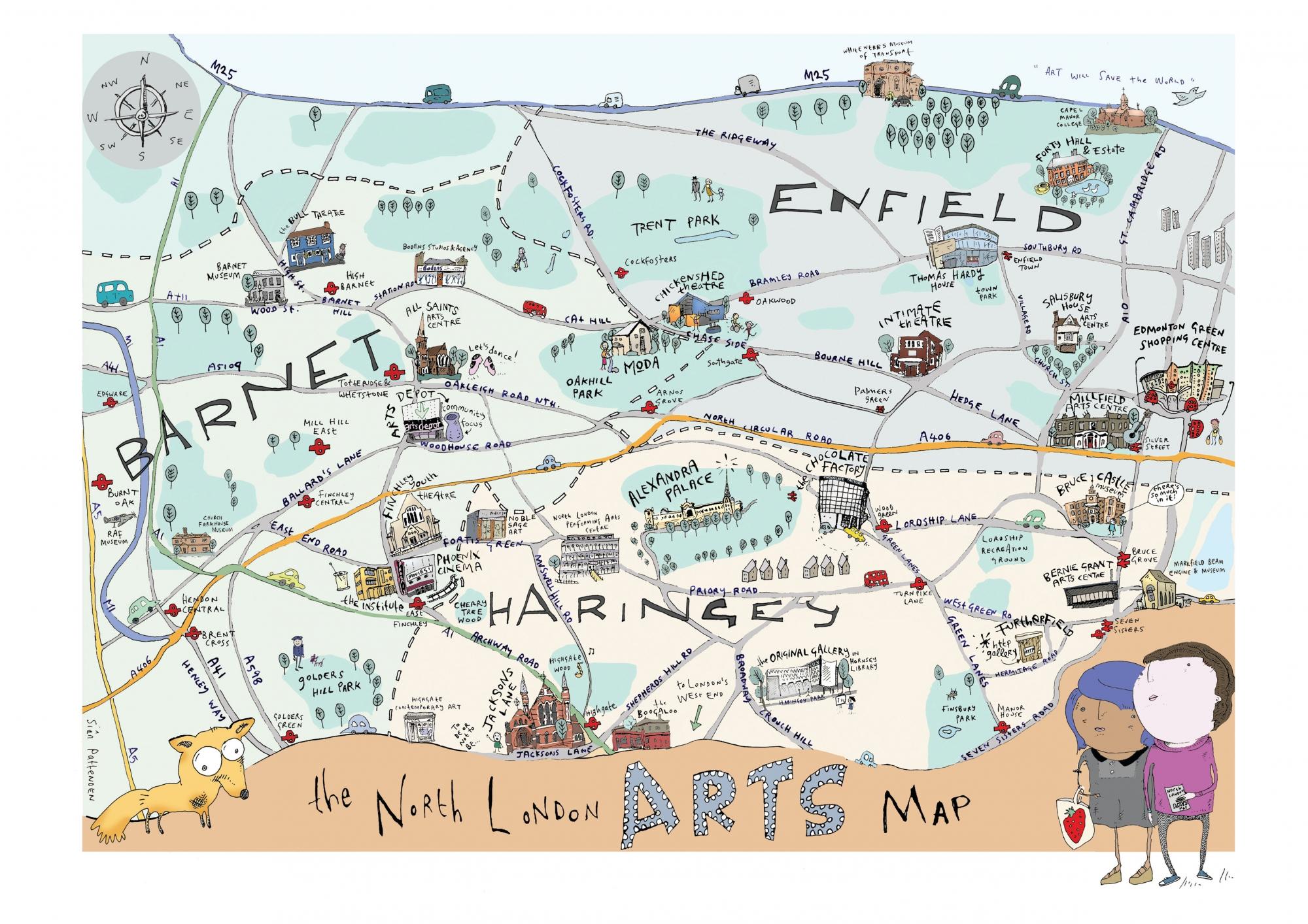 London North Map.North London Arts Map